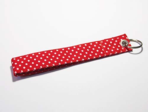 Kurzes Schlüsselband kleine Punkte Rot mit Schlüsselring (Dots Mit Weißen Rot Polka)