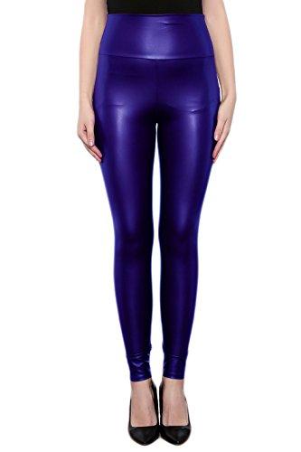 SodaCoda Damen Sexy Kunst-Leder Leggings - Hohe Taille Wet-Look (Blau, L)