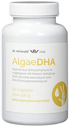 dr.reinwald AlgaeDHA - Veganes Nahrungsergänzungsmittel mit Omega-3-Fettsäuren (DHA & EPA) - Algenöl für Gehirn, Herz & Sehkraft - 90 Kapseln -