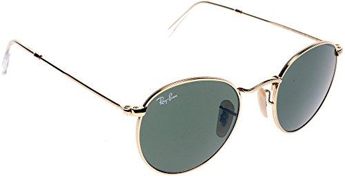 Ray-Ban Gold Grün Klassische G-15 50mm RB3447 ROUND METAL Runde Sonnenbrille