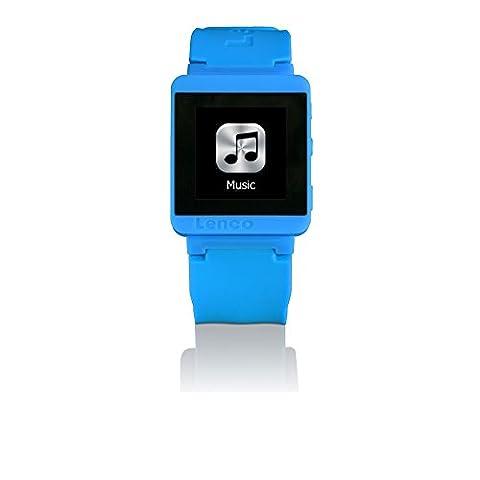 Bluetooth Sport Uhr Unisex Zeit Messer Digital Silikon Armband MP3Sportwatch-100-blau