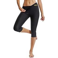 FITTOO Pantalon Sudation Femme Legging Minceur Néoprène Transpiration Sauna Amincissant Sport Gym Fitness Noir XXL