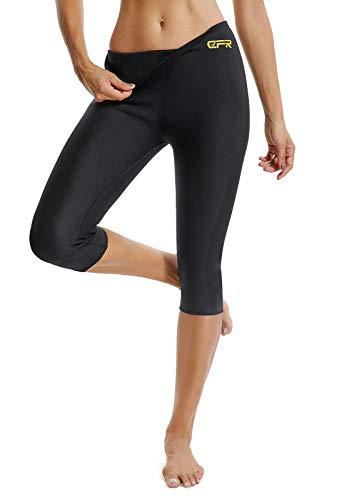 Fittoo sauna pants donna hot shapers donna pantaloncino fitness snellente, nero, xxxl