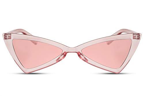 Cheapass Damen-Sonnenbrille Cat-Eye Rosa Pink Schmal UV-400 Eckig-e Designer-Brille Plastik Frauen