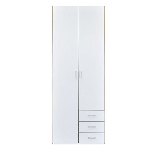 @home Masters 2-Door Wardrobe (Glossy Finish, Oak and White)  available at amazon for Rs.11445