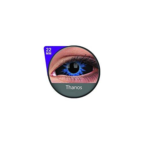 1 Paar Sclera THANOS Kontaktlinsen linsen farbige schwarz blau vampir sklera mit Box dämon halloween kostüme ()