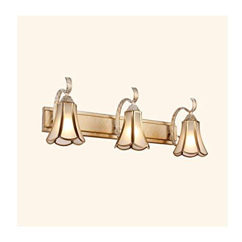 Bad Spiegelleuchten Spiegel Scheinwerfer American Retro Badezimmer Schlafzimmer Schrank Licht Vanity Spiegel Waschbecken Lampe Glas Kupfer [Energieklasse A +] (Farbe : B-Three heads) -