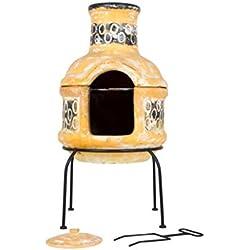 La Hacienda Cercles Cheminée en Argile avec Grille de Cuisson Petit Format Jaune et Marron