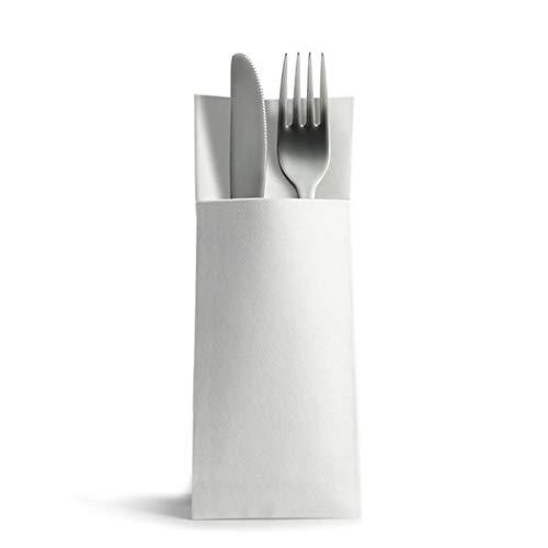 CHIC® Airlaid 50 Besteckservietten Bestecktaschen weiß 32x40cm, Stoffähnlich, hochwertige Einwegserviette