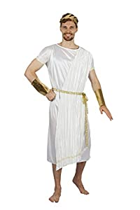 Bristol Novelty AF088 - Disfraz de Dios griego para hombre, talla única, color blanco, dorado