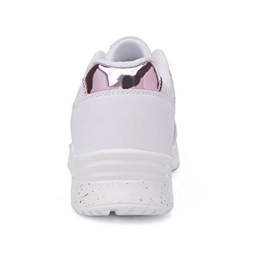 JEDVOO Donna Scarpe Da Sportive Running Basket Sneakers con Anti-Shock Per Scarpe Fitness Palestra Sport Air Bianco