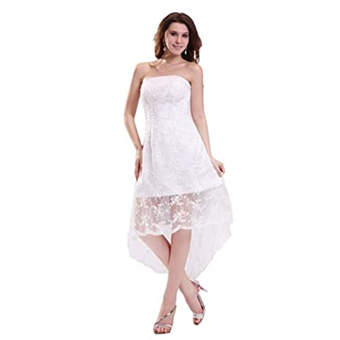 Dearta Women's A-Line Strapless Asymmetrical Wedding Dresses US 16 White