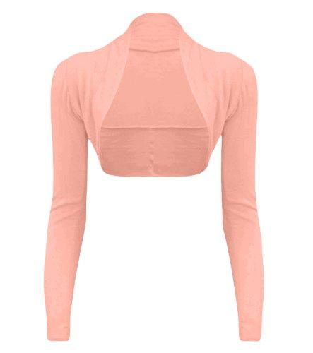 Couture Cexi - donna Bolero cardigan a maniche lunghe taglie 36 38 40 42 pianura Baby Pink