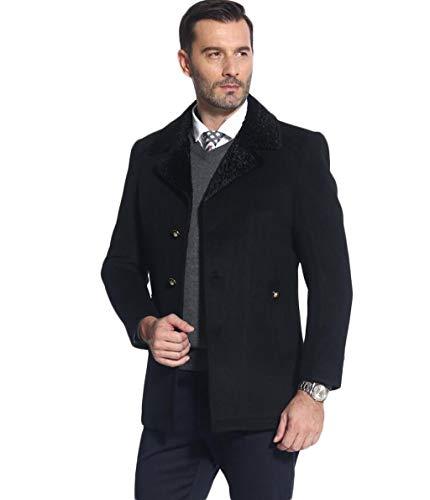 GKKXUE Herbst und Winter Mantel mittleren Alters Männer Langen Abschnitt schlanke Jacke Revers Wolle Windjacke (Farbe : Blau, größe : L) - Alter Mantel