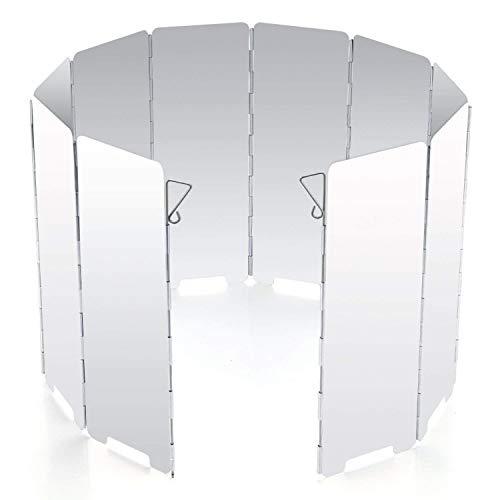 Diswoe Faltbar Aluminium Windschutz, 10 Stücke Outdoor-Aluminium-Windschutz für Campingkocher, Gaskocher (Ofen Camping Gas Kompakt)