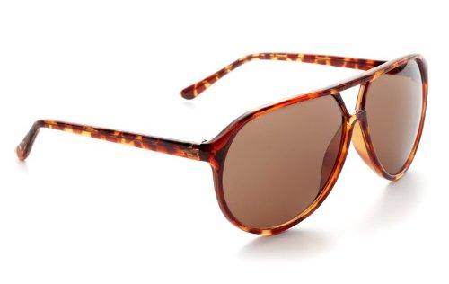 Zoom Classic Sunglasses Plastic Aviator Tear Drop Shape with Double Brow, Tortoise Color...
