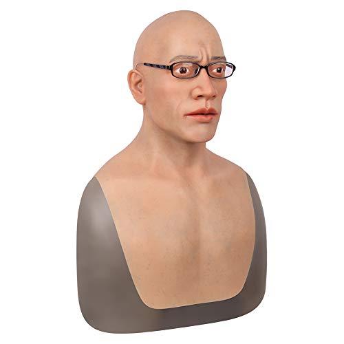 Handgemacht Silikon Kopf Maske Realistisch Harter Typ Gesicht Zum Cosplay Halloween Kostüme Parodie Geschenk Crossdresser Transvestit Verkleidet Als Mann Mittleren Alters Männlich Kopf Modell,Beard