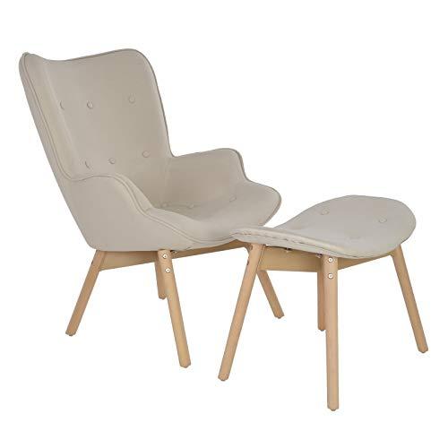 MACOShopde by MACO Möbel Fernsehsessel/Ohrensessel mit Hocker aus Leinen und Massivholz in beige im skandinavischem Retro Design