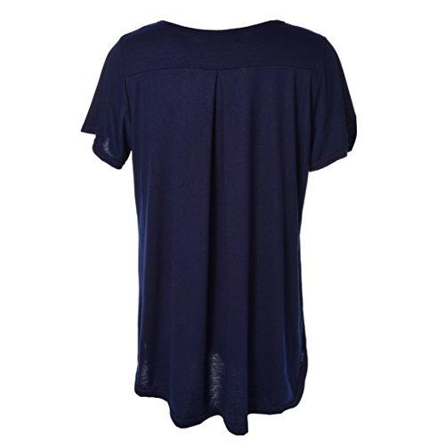 Blooming Jelly Damen Topss Ruched Swing Baggy Lose Kurzarm Flowy Übergroße Bluse Lange Casual T-Shirt Blau #1