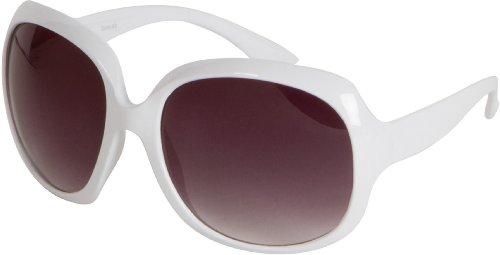 Sakkas Retro Vintage Oversized Frame Fashion Sunglasses - Weiß/Smoke