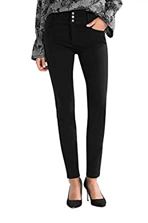 Timbre Women High Rise Skinny Fit Black Denim Jeans with Wide Waistband (42)