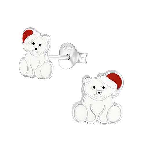 s Kinder-Ohrstecker Ohrringe Kinderschmuck Bär Teddybär Eisbär 8mm weiß, rot Sterling Silber 925 ()