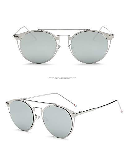 ZJWZ Retro Bunte Sonnenbrillen Männer Tide Marke Fashion Metal Sonnenbrille Frauen-Persönlichkeit Sonnenbrille,goldwhitemercury