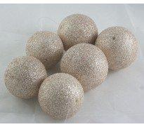 6 palle di natale in polistirolo glitterato oro/bronzo diam.5,5 cm 3 pz e 3 da 7 cm