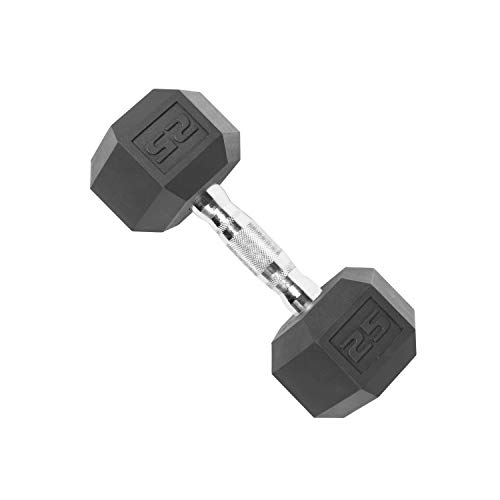 Cap Hantelgewichte mit Sechskant-Beschichtung, Unisex-Erwachsene, SDR-025, Black (25 Pound), 25 Pound (Cap Hantel Gewicht Set)