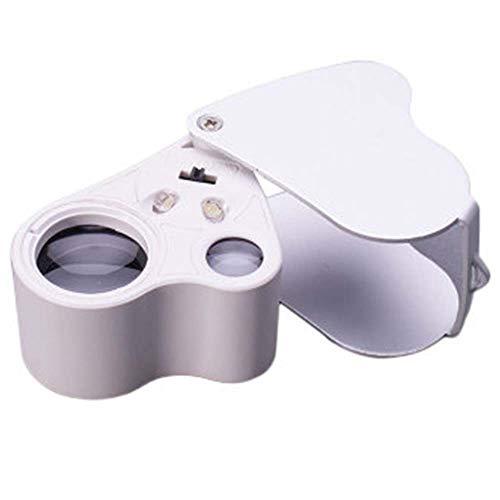 lupe Doppellinsen Schmuck ID Tool LED-Beleuchtung Zum Lesen Und ÜBerprüFen Von KartenmüNzen ()