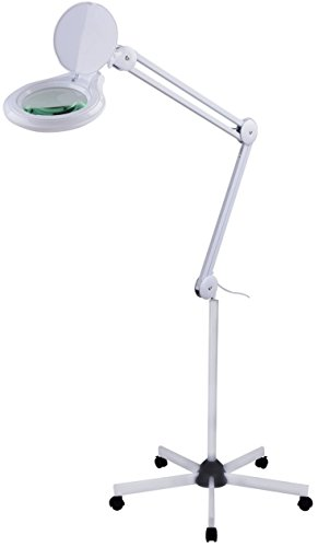 Komerci KML-9003-5D-LED Lupenleuchte mit Standfuß, LED Lupenlampe dimmbar, Lupe mit Beleuchtung, Rollstativ, 125mm 5 Dioptrien Linse, 60 LED 14W, weiß (Lupe Verstellbare Lampe)