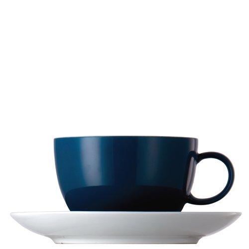 Tasse à Thé et Soucoupe Thomas Sunny Day, Porcelaine, Petrol Blue / Bleu, Compatible Lave-Vaisselle, 20 cl, 2 Pièces, 14640