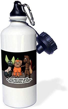 GFGKKGJFD612 Sandy Mertens Halloween-Designs - Hundekostüm Cartoon, lustiges Zitat mit Kürbis-Outfit, drsmm weiße Aluminium-Trinkflasche