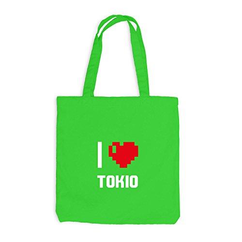 Jutebeutel - I Love Tokio - Japan Reisen Herz Heart Pixel Hellgrün