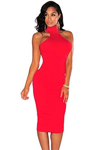 COSIVIA Sexy Femme Robe Moulante en Robe Sans manches Robes de Soirée Cocktail Bustier Halterneck Midi dress, Noir/Blanc/Bleu /Rouge,Taille one size Rouge