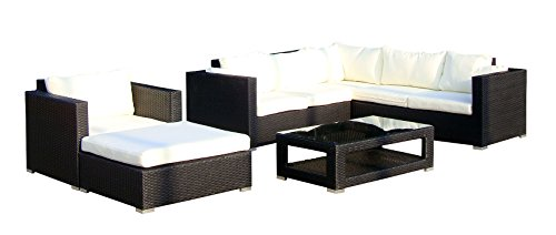 baidani Salon de Jardin Boite 10 C00020.00001 Designer Salon de Paysage Sunset Salon, canapé d'angle, 1 Fauteuil, 1 Tabouret, 1 Table Basse avec Plateau en Verre, Noir
