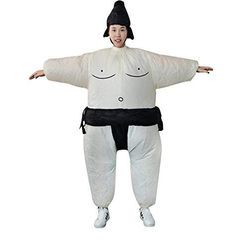 Jasnyfall Fan aufblasbare Sumo Kleid Neuheit Fetter Mann und Frau Suite Fett maskierten Anzug Fancy Blow Up Kleid Wrestler Kostüm (weiß & - Fett Mann Kostüm