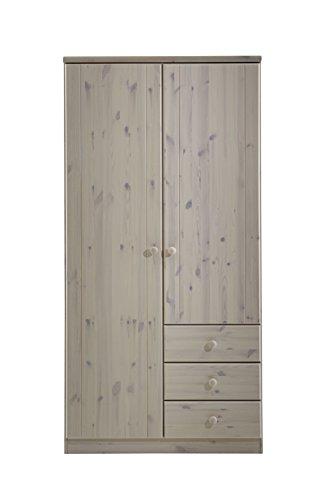 Steens Ribe Kleiderschrank, 2 Türen und 3 Schublade, 101 x 202 x 59 cm (B/H/T), Kiefer massiv, weiß