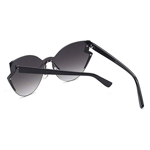 Damen Retro cat Eye Brille Europa und die vereinigten Staaten Trend Fashion Black Frame Farbverlauf objektiv Metall persönlichkeit Sonnenbrille Brille (Farbe : Black)