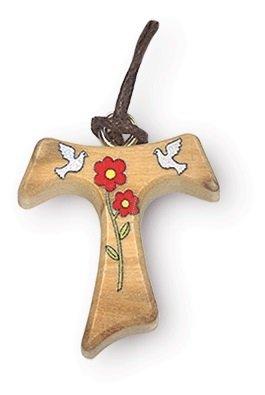 Anhänger mit Kreuz Tau aus Holz Olivenholz und Verzierung von Tauben-2,5cm