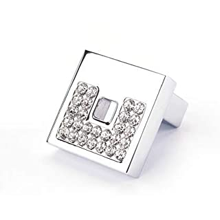 Square Crystal Diamante Chrome Silver Knob Handle for Cupboard Drawer Wardrobe Bathroom Bedroom Furniture Complete with fixings Free UK DELIVERY ON Orders Over £20.00