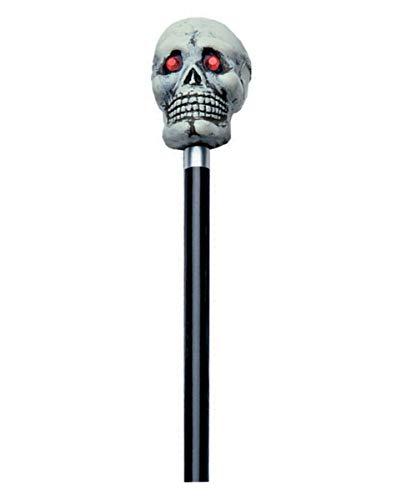 Horror-Shop Spazierstock mit grauem Totenschädel