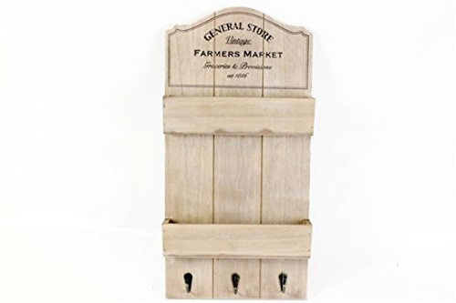 New Shabby Chic Rustic Vintage General Store Shelf Wall Unit & Hooks Keys/ Letters Rack by General Store