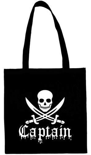 Textildruck Universum Baumwolltasche Piraten-Captain Stoff Jütebeutel (Schwarz)