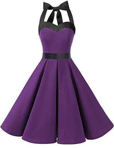 Dresstells Neckholder Rockabilly 1950er Polka Dots Punkte Vintage Retro Cocktailkleid Petticoat Faltenrock Purple Black XS