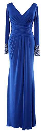 MACloth Women Long Sleeves V Neck Jersey Maxi Formal Evening Gown MOB Dress Royal Blue