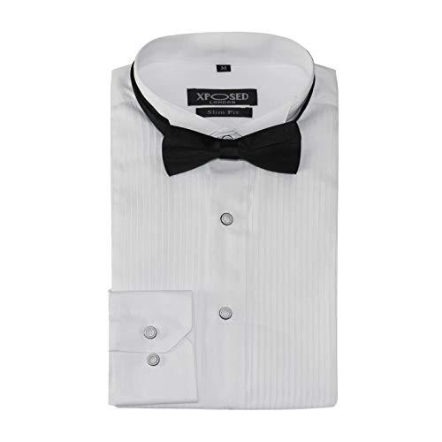 Xposed Smoking Hemd mit Fliege, Slim Falten vorne, Flügelkragen für Hochzeit, Abschlussball - Weiß - 8XL