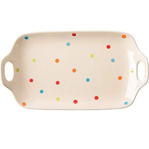 YYF Polka Dot Flache Platte - Keramik Candy Ribbon Griff quadratische Farbe Platte Haushalt billig - 7 Zoll (Color : Blue, Größe : 7.2in) Blue Ribbon Candy