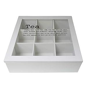 Neuf en bois Blanc 9Compartiment Sachet de Thé Boîte de rangement (Us238)