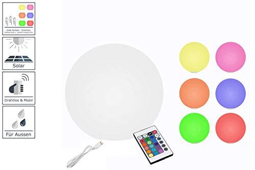 7even LED-Solar-Kugel 30cm / Solar & USB betriebene Leucht-Kugel mit Farbwechsel & Fernbedienung ...